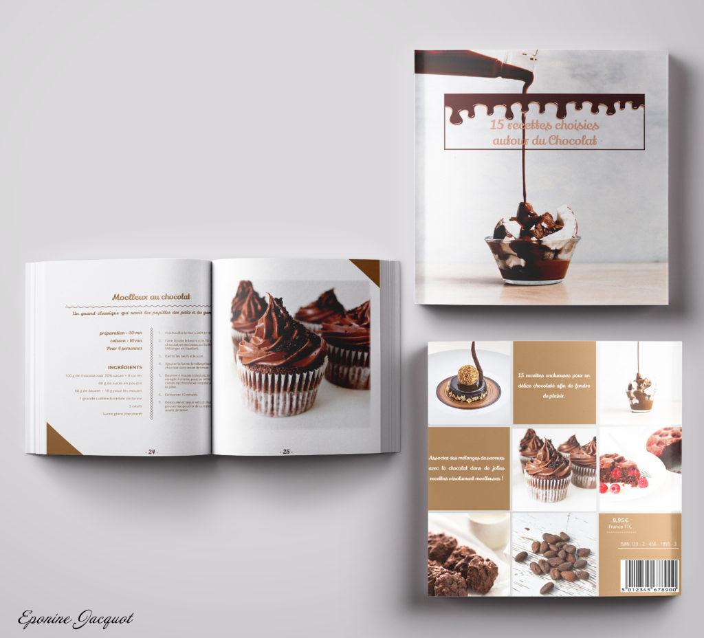 Création d'un livre de recettes autour du chocolat. Titre, images, et contenu des recettes imposés. J'ai représenté a gourmandise par le chocolat se répandant vers le titre, et créant une harmonie avec le visuel à l'arrière. La typographie reste gourmande et moderne, et les couleurs choisies sont celles des trois chocolats ( chocolat noir, au lait, et blanc).
