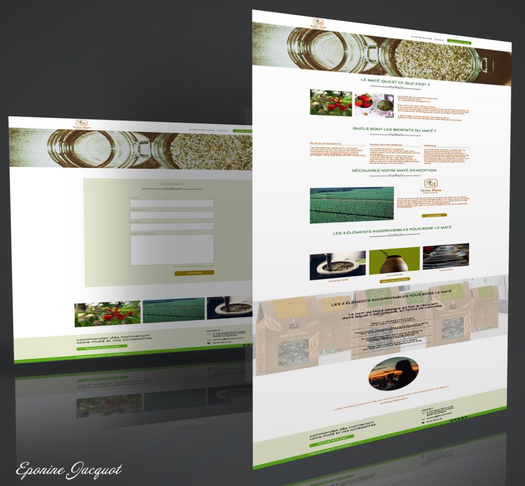 Création d'une maquette web sur la charte graphique du logo. L'illustration des textes avec les photos permet d'expliquer comment préparer le Maté et sa provenance, et ainsi faire découvrir le Maté au grand public avec une photo de mon packaging.